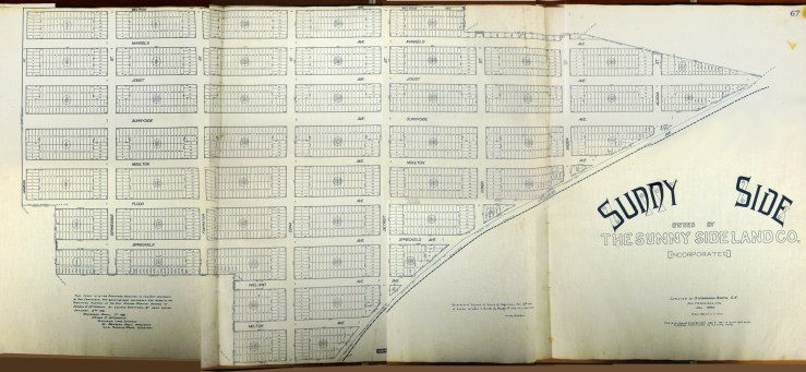 1891 Original homestead map for Sunnyside. Sunnyside Land Company. San Francisco History Center, San Francisco Public Library. Photo by Amy O'Hair. Larger version here. https://sunnysidehistory.org/wp-content/uploads/2019/06/1891-Sunnyside-homestead-map-smr.jpg