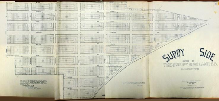 1891 Original homestead map for Sunnyside. Sunnyside Land Company. San Francisco History Center, San Francisco Public Library. Photo by Amy O'Hair. Larger version here. https://sunnysidehistory.org/wp-content/uploads/2019/06/1891-Sunnyside-homestead-map-smr.jpg