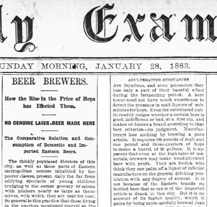 SF Examiner 28 Jan 1883. Read entire article here. https://sunnysidehistory.org/wp-content/uploads/2019/09/1883Jan28-SFExaminer-Brewing-piece.jpg