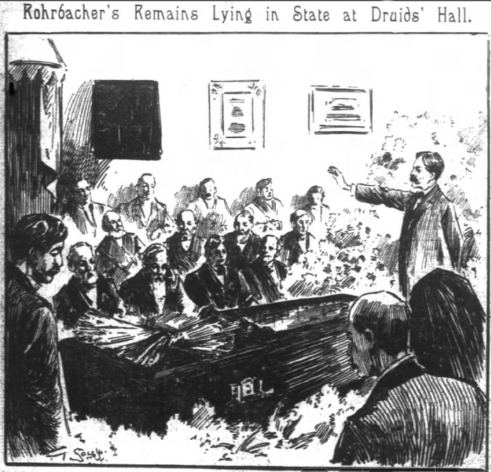 Left: Rohrbacher's well-publicized funeral. San Francisco Chronicle, 30 April 1897. From Newsbank.com.
