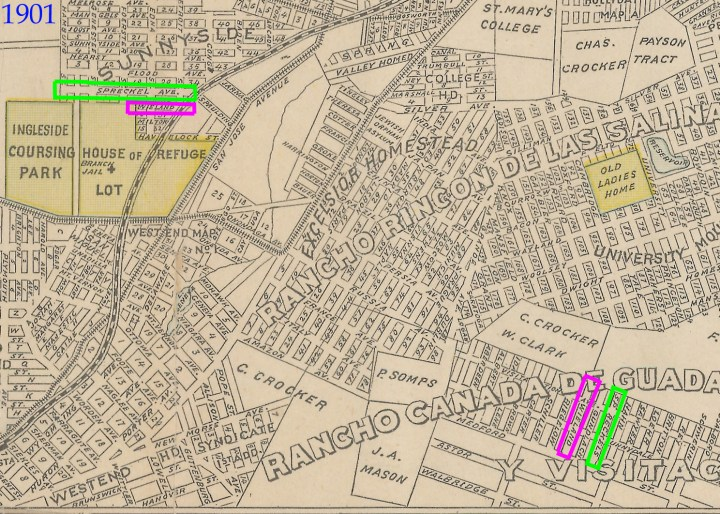 1901 Map of San Francisco, George F Cram, Chicago. Map Collection, University of California. Both sets of Wieland and Spreckels streets marked, in Sunnyside and Rancho Canada de Guadalupe Rodeo Viejo Y Visitacion, later Visitacion Valley.