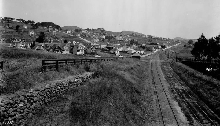 1923. View north from near Judson, on Southern Pacific railroad tracks. Photo: Western Railway Museum 260-V.