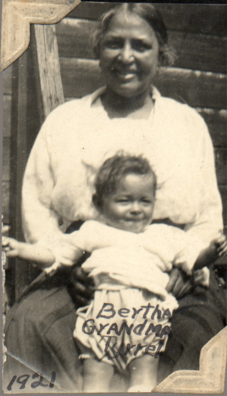 1921. Grandmother Frances Tyrrel with baby Bertha Reid, at Laidley Street house. Courtesy Charles Reid/Ivy Reid Collection.