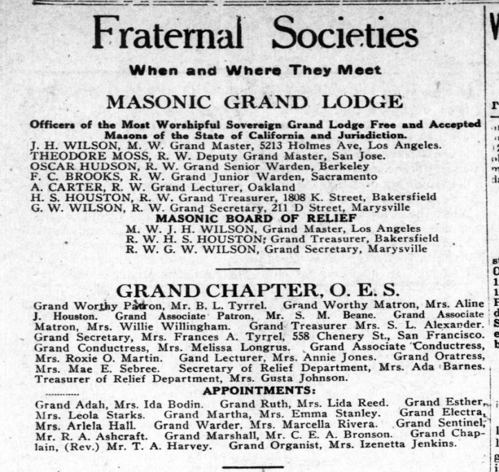 From the front page of The Western Outlook. 1 Jan 1927. Frances Tyrrel is listed under OES as Grand Secretary. TexasHistory.UNT.edu