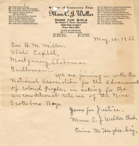 1933. Letter from The Madam CJ Walker Club of San Francisco to Governor Benjamin M Miller of Alabama, asking for the unconditional release of the Scottsboro Boys. From ScottsboroboysLetters.as.ua.edu.