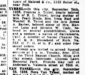 Frances Tyrrel's obituary, SF Examiner, 27 Sep 1938.