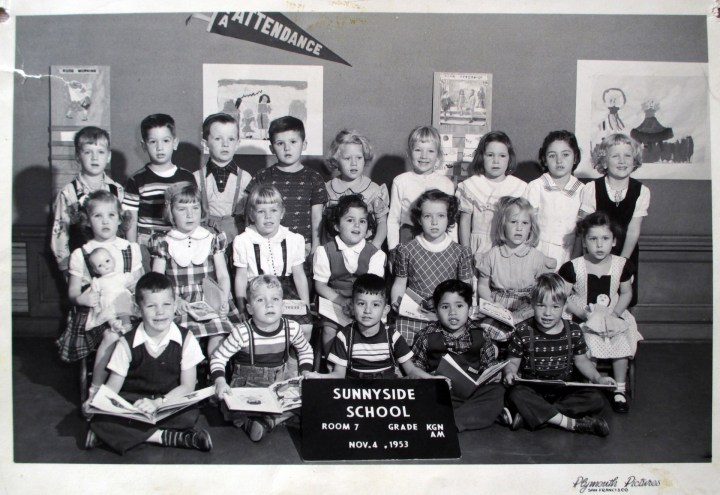 Kindergarten, Sunnyside School, 1953. Courtesy Greg Gaar.