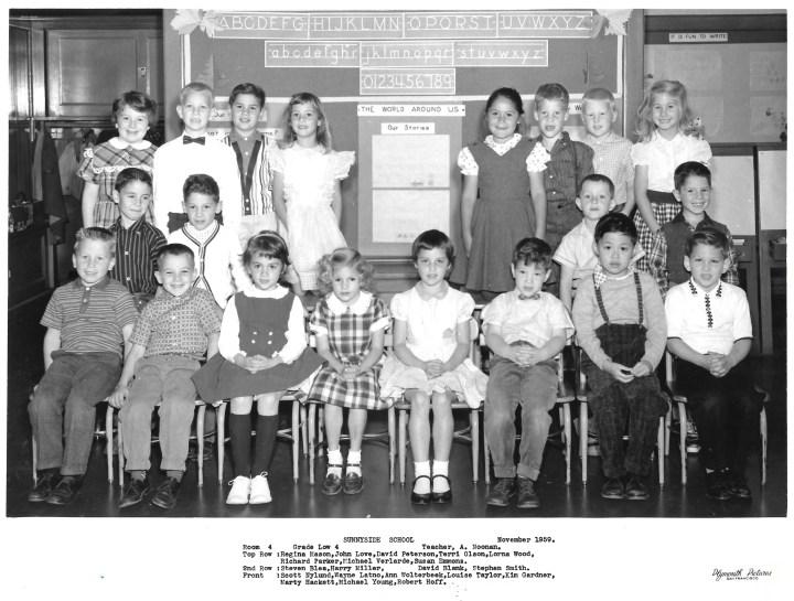 First grade, Sunnyside Elementary School, 1959. Teacher: Alice Noonan. Courtesy Marty Hackett.