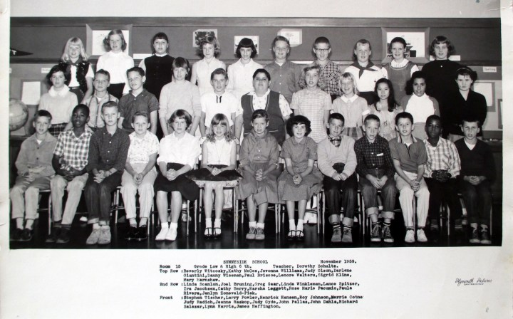 Sixth grade, Sunnyside Elementary School, 1959. Courtesy Greg Gaar.