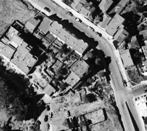 1948 aerial photo of area around Poole-Bell House, showing more houses built in the previous decade. DavidRumsey.com