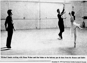 Rehearsing Romeo and Juliet. SF Examiner, 27 Nov 1977.