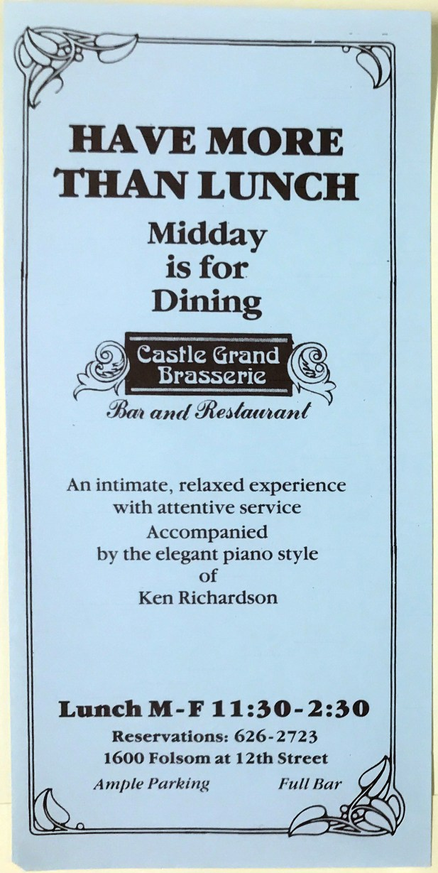 Flyer for Castle Grand Brasserie, San Francisco LGBT Business Ephemera Collection. Courtesy of Gay, Lesbian, Bisexual, Transgender Historical Society.