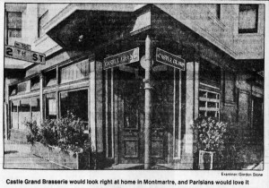 The Castle Grand Brasserie, 12th and Folsom. SF Examiner, 29 Sep 1985.