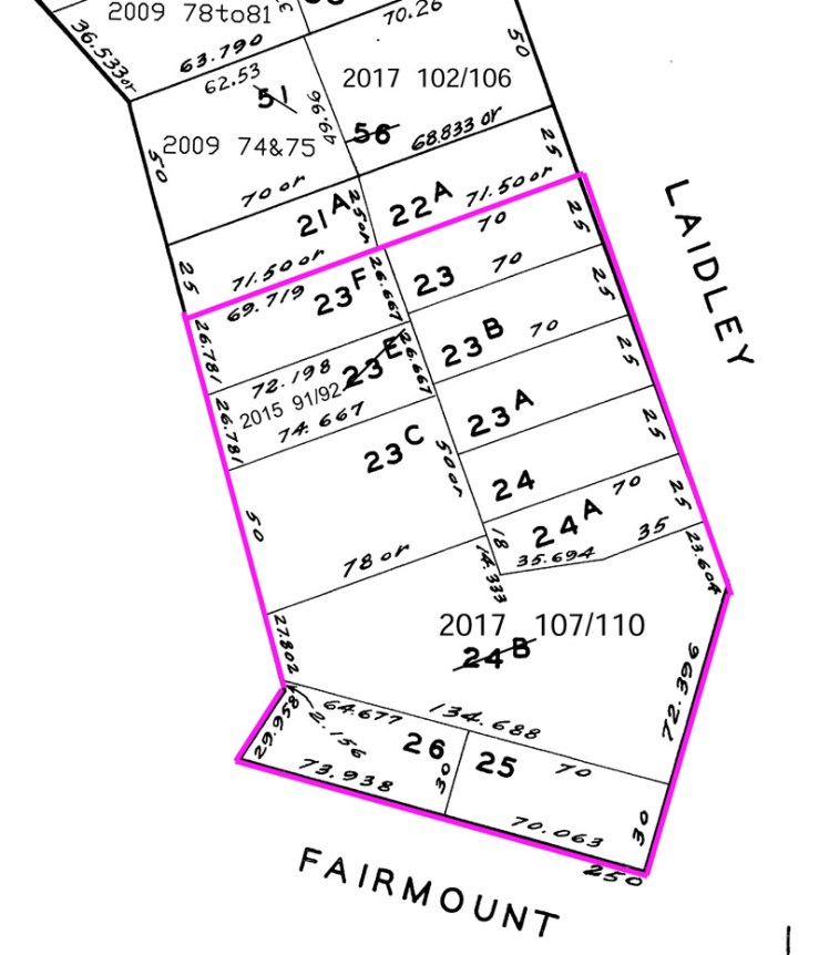 Assessors map marked to show original Poole-Bell property as purchased by Chipps in 1929.