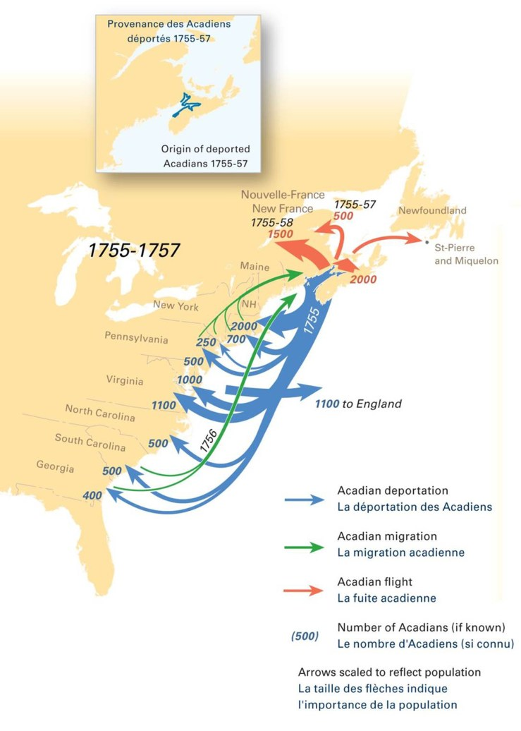 Map showing forced relocations of Acadians, 1755-1757. University of Maine, Canadian-American Center.
