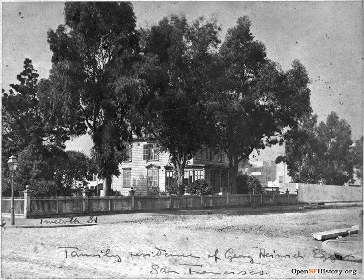 1870s. The home of grocery tycoon George H Eggers, across the street from Behrend Joost's house, at Twelfth and Folsom. OpenSFHistory.org
