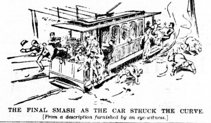 SF Examiner, 3 May 1892. Illustration of the big crash at the bottom of the Chenery Street 'slide'. Newspapers.com