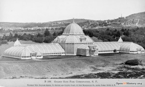1880c. The Conservatory of Flowers in Gold Gate Park. Lick in the 1860s Lick ordered a replica of Kew Garden Conservatory, then never got it unboxed! His estate sold it cheaply to people who erected it in the Park. OpenSFHistory.org