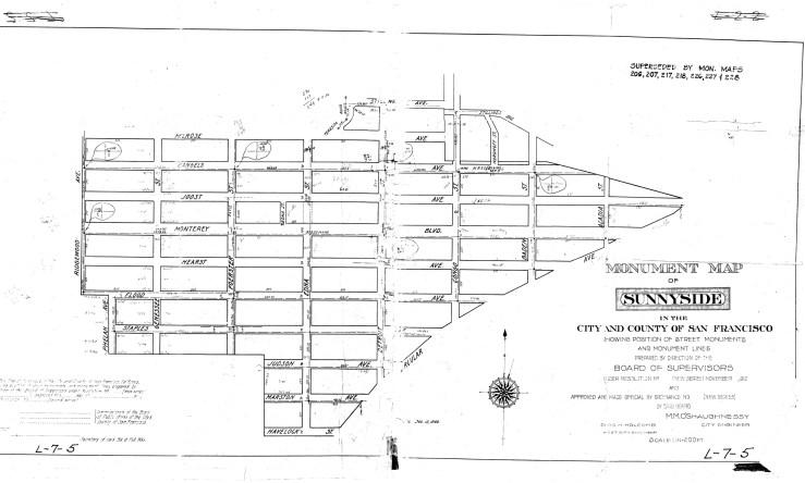1912. Dept of Public Works Monument Map of Sunnyside, San Francisco.