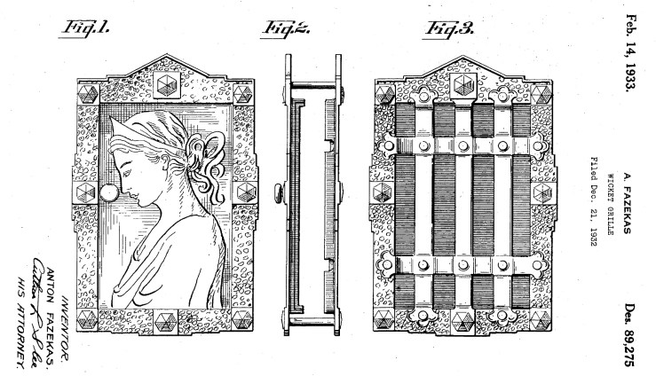 Fazekas patent for a grille, with elegant grecian lady as ornament. Filed Dec 1932.
