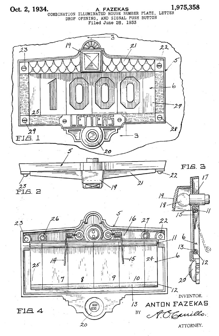 Too much! Fazekas patent for combo lighted house numbers-doorbell-mail slot. Filed June 1933.