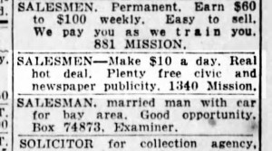 SF Examiner, 31 May 1938. This ad ran for some weeks. Newspapers.com