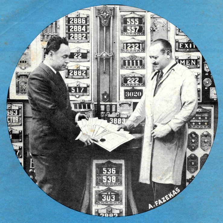 Anton Fazekas, on right, with a display of his house number and door chime products. Perhaps from a brochure or catelogue. Date unknown. From electrachime.net https://www.electrachime.net/long-bell-chimes/pre-1950-tubular-chimes/american-art-metal-tubular-doorbell-circa-1934/