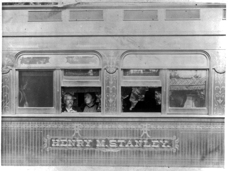 19 Mar 1891. Stanley and his entourage, touring Monterey County in a custom railway car. Library of Congress.