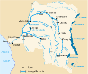 Map of the Congo River, lakes, and feeder rivers, with falls shown with double lines. Wikimedia.org