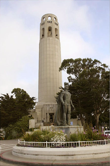Coit Tower, before Columbus was removed in 2020. The Phoenix by Robert Howard can be seen over the front door. Wikimedia.org