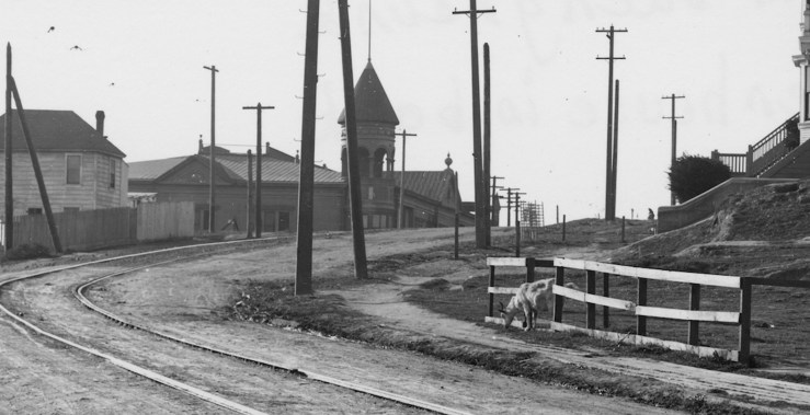 1911. Goat grazing near Monterey Blvd (then Sunnyside Avenue) at Circular Ave. Sunnyside Powerhouse behind. Courtesy SFMTA afmta.photoshelter.com