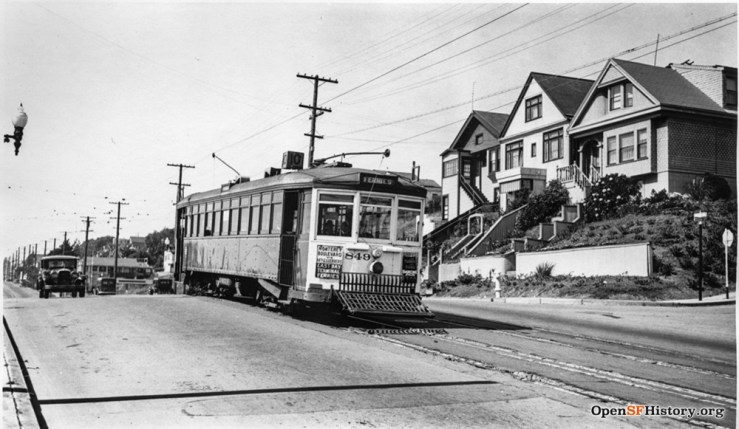 1940c. The No.10 electric streetcar on Monterey at Acadia. The last streetcar ran a few years later, replaced by buses. OpenSFHistory.org
