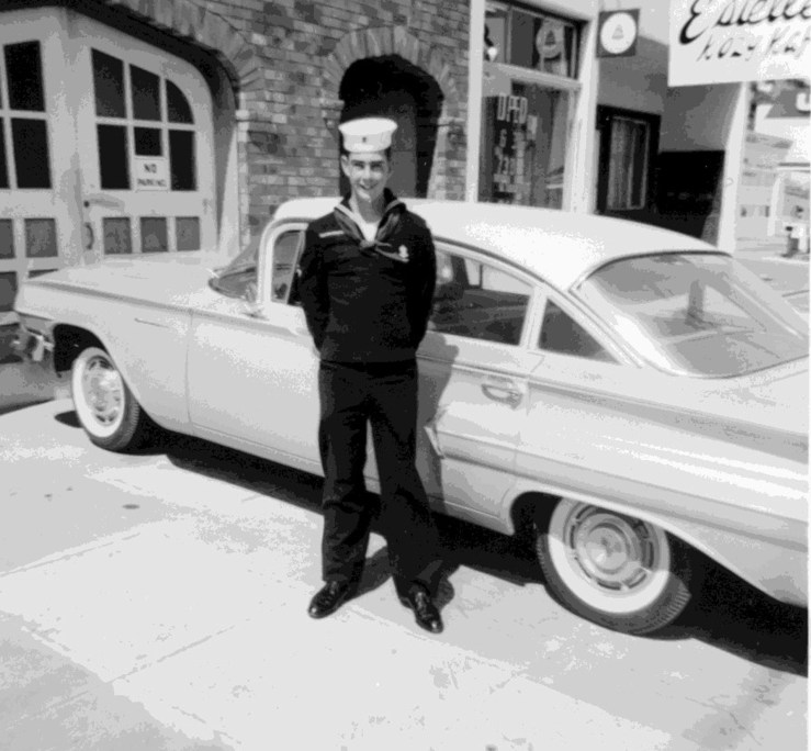 "1960. Don Cohn, as a Sea Scout, age 15. The Cohns lived at 482 Monterey. The ""Cozy Cafe"" is visible next door, long gone. Courtesy Don Cohn."