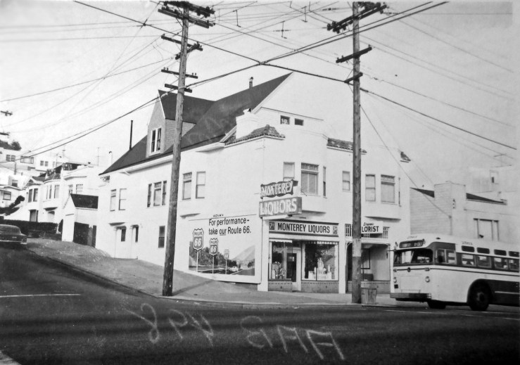 1966c. 696 Monterey Blvd. This was originally two retail spaces. On left, Monterey Liquors, which operated from 1940-1960s. Before that it was a grocery. On right, a florist, which had been a shoe repair and a cleaners. The two spaces were knocked together in the mid-1970s, and it has been an Asian cuisine restaurant of one sort or another since then. At least the billboard is gone. San Francisco Office of Assessor-Recorder Photographs Collection, San Francisco History Center, San Francisco Public Library sfpl.org/sfphotos/asr