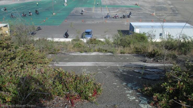 Trainee motorcyclists. Balboa Reservoir, Sept 2019. Sunnyside History Project. Photo: Amy O'Hair