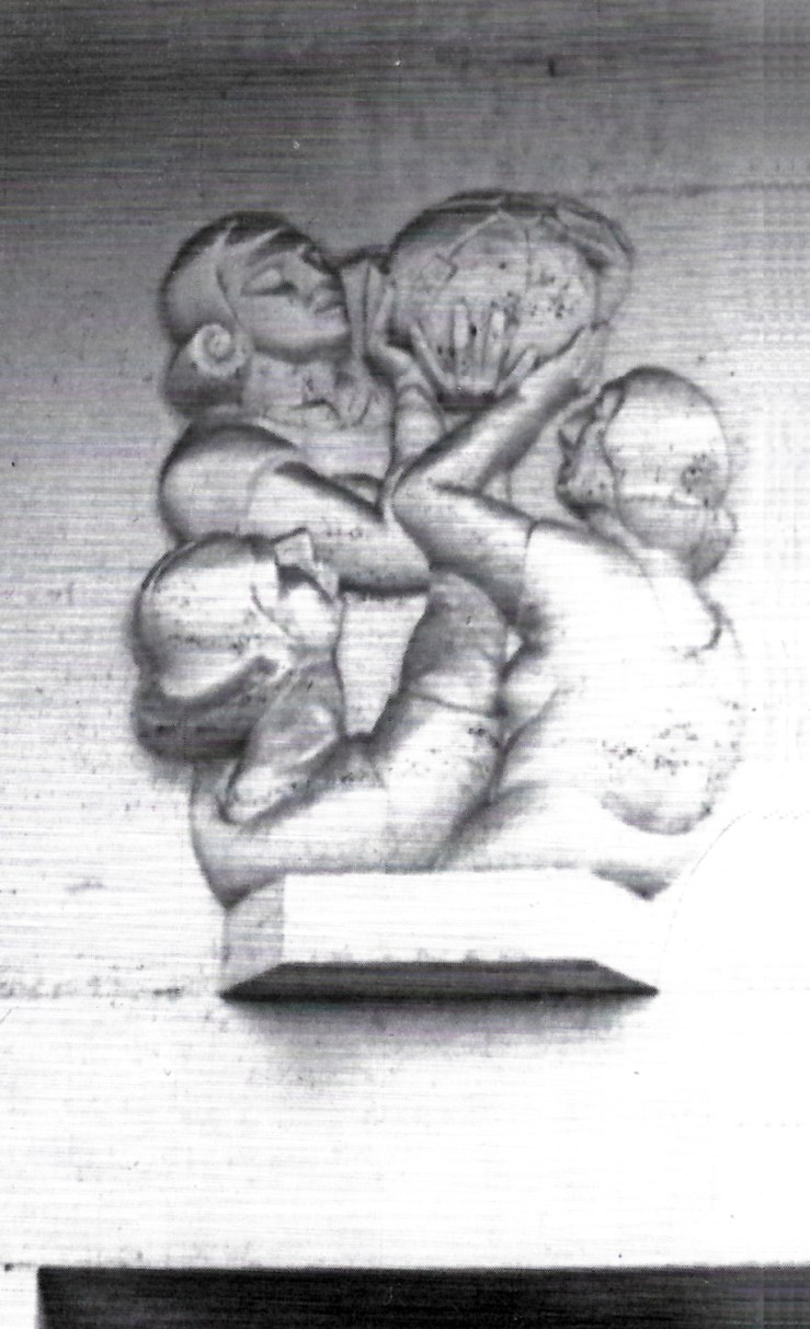 "Sargent Johnson, medicine ball players, cast concrete relief, 7'4"" x 9', 1940. Photo: City College of San Francisco by Julia Bergman et al, Arcadia."