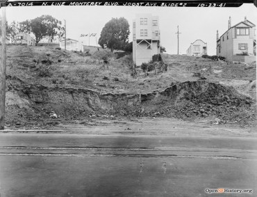 1941. View north from Monterey Blvd, just east of Detroit. Houses on hill (L to R): 364 (gone) - 350 - 335 - 318- 311 Joost Avenue. OpenSFHIstory.org