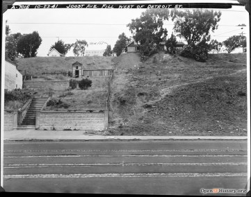 1941. View north from Monterey Blvd, just west of Detroit. Two houses behind trees are 412 and 400 Joost Ave. OpenSFHistory.org