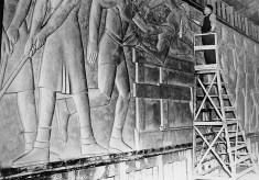 Sargent Johnson at work on the Washington High School sports frieze, 1942c. FoundSF.org