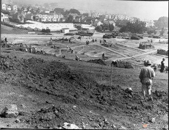 1935c. After Ingleside jail was demolished and removed, workers grade the site in anticipation of improvements to be made for Balboa Park, which once covered the entire House of Refuge lot (now City College and the smaller present Balboa Park). OpenSFHistory.org
