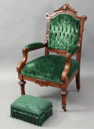 Walnut-framed parlor set, similar to items sold from Pleasant's boarding house by auction. 1stdibs.com