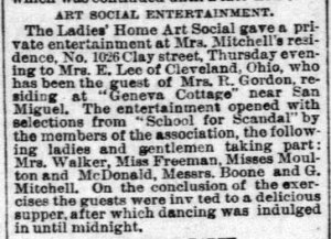 """The first instance of """"Geneva Cottage"""" in print. Rebecca Gordon has guest from Ohio. SF Examiner, 15 Mar 1885."""
