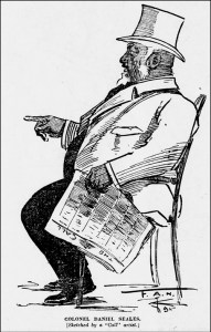 "Drawing of Daniel Seales, ""Black King of Finance"". SF Call, 6 Dec 1895."