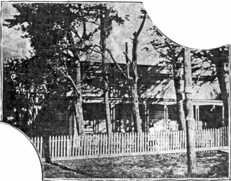 Photo of Mary Ellen Pleasant on the veranda of Geneva Cottage, SF Chronicle, 9 Jul 1899.