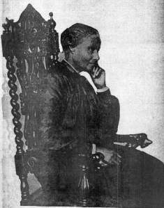 Photo of Mary Ellen Pleasant by Taber. Notice elaborately carved chair back, retouched out of subsequent uses of this famous photo. SF Call, 29 Dec 1901.