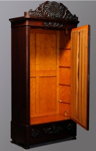 Rosewood Armoire with satinwood lining, similar to item sold from Pleasant's boarding house by auction.