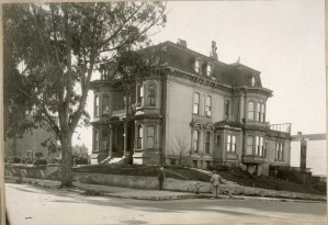 """The house that Mary Ellen Pleasant built in 1876, before it was torn down. """"The Old Bell home, S.W. cor. Bush & Octavia Sts. In which the Old Colored Woman, Mama Pleasance [Mary Ellen Pleasant], held sway for years. House built about 1870. J.B. Cook at the corner."""" Jan. 1925. Cook (Jesse Brown) Scrapbooks Documenting San Francisco History and Law Enforcement, ca. 1895-1936. UC Berkeley, Bancroft Library"""