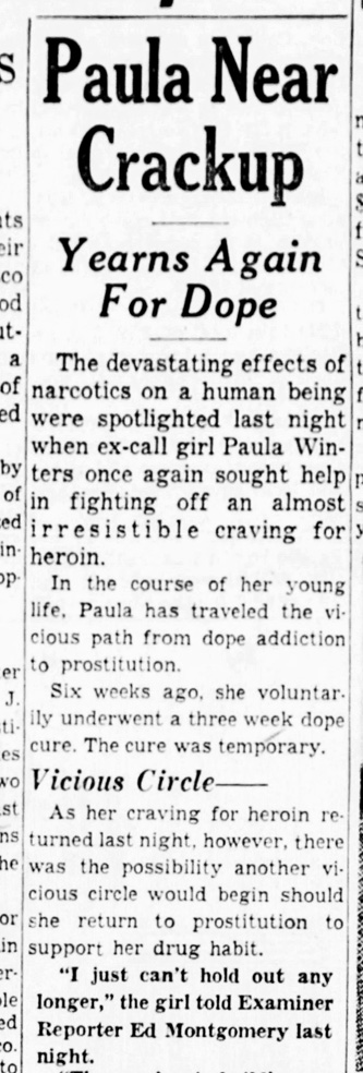 Winters struggling with addiction. SF Examiner, 8 May 1954. Read entire piece here. https://sunnysidehistory.org/wp-content/uploads/2021/05/1954May08-Examiner-Paula-Winters-crackup.jpg