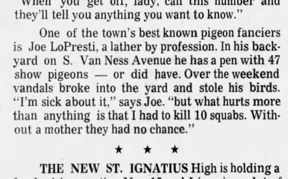 Joe LoPresti's pigeons stolen! Jack Rosenbaum's column in the SF Examiner, 21 Apr 1970.