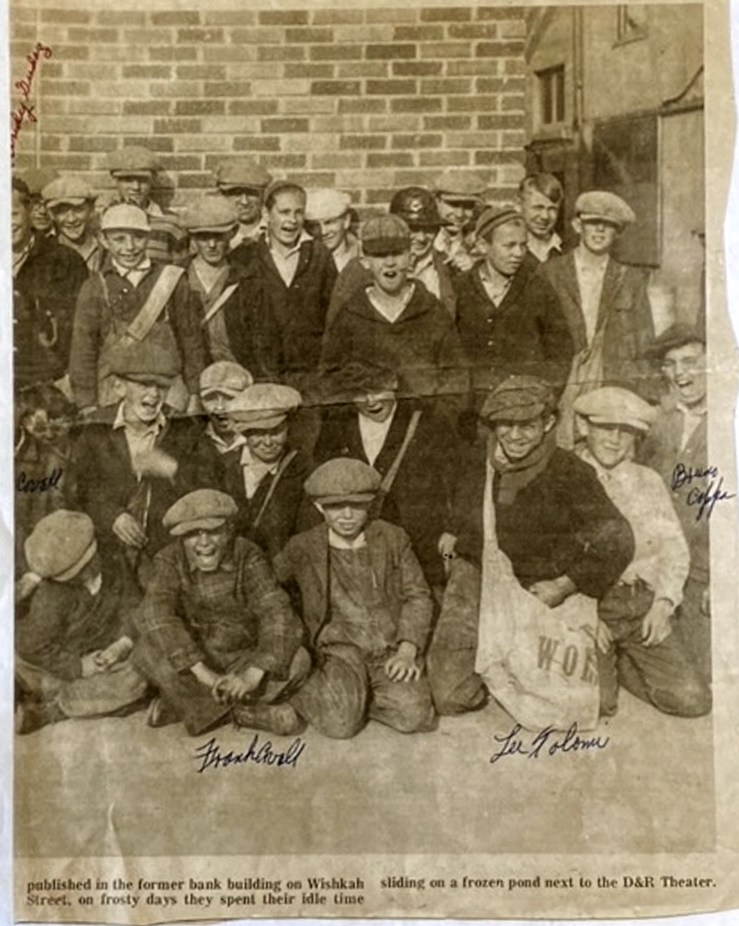 Newspaper photo of the delivery boys in Aberdeen, Washington, about 1924. Bruno Cappa on the far right. Bruno kept this photo from his childhood, which was marked to show his friends then, Lee Tolomei and Frank Cavell. Photo courtesy Marilyn Cappa Kennedy.